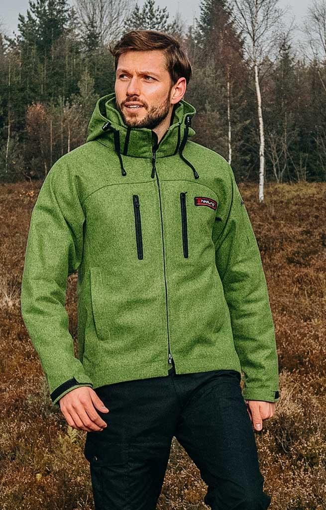 hedlund herren Lodenjacke - Softshelljacke aus Wolle - Grenland mid green