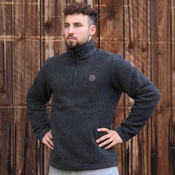 Herren Wollpullover aus weichem Flauschloden - Turtleneck Zip Troyer aus Wolle