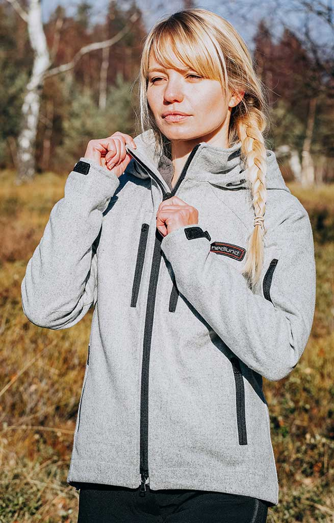 Damen Softshelljacke - Outdoorjacke aus Wolle - Leka mid lightgrey