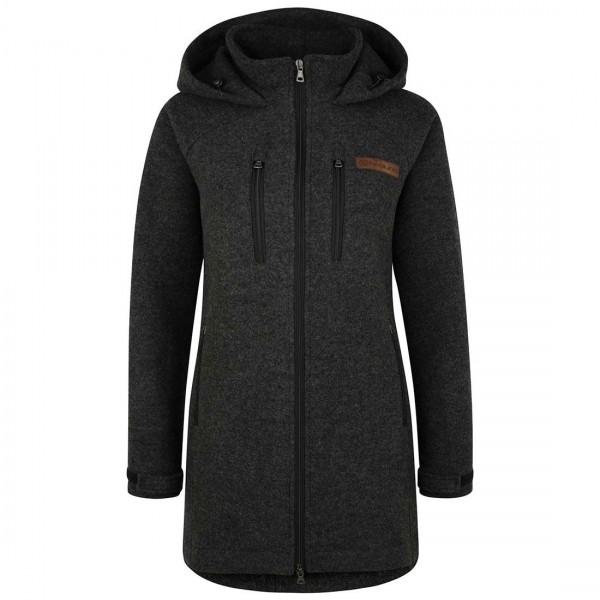 Damen Wollmantel aus Lodenfleece - kuschelig warmer Fleece-Lodenmantel aus Schurwolle für den Winter