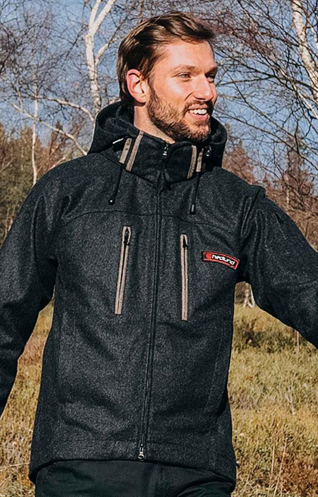 c8f93d38a4 hedlund Herren Softshelljacke aus Wolle - Grenland mid Anthrazit  Outdoorjacke
