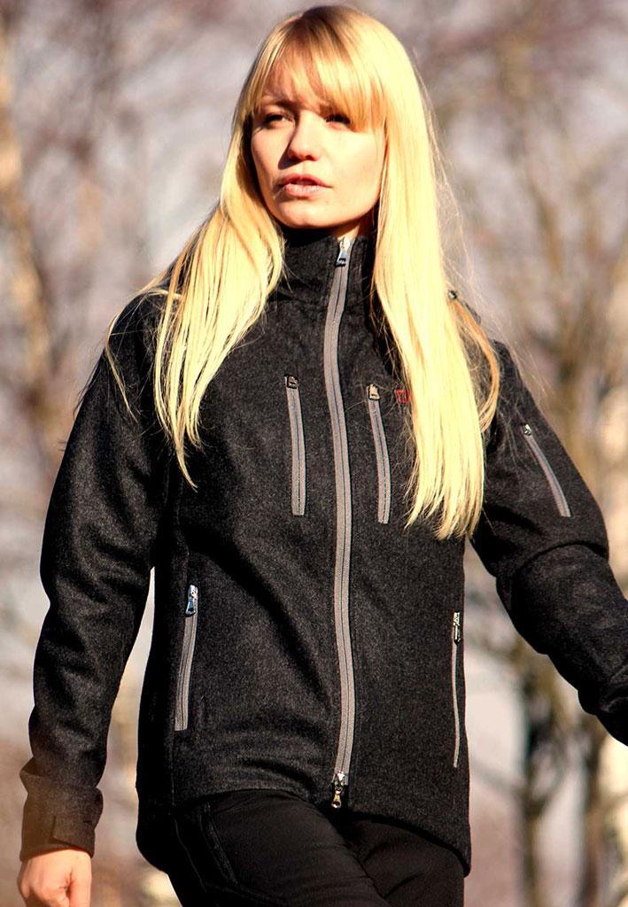 Damen Softshelljacke - Outdoorjacke aus Wolle - Leka mid