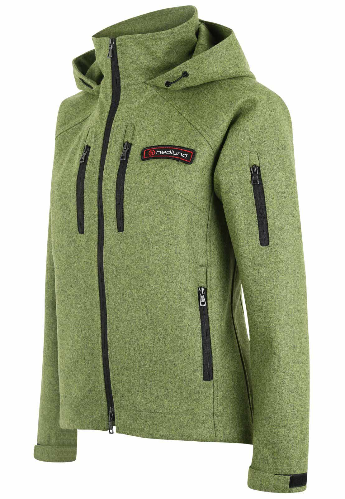 Damen Softshelljacke - Outdoorjacke aus Wolle - Leka mid green