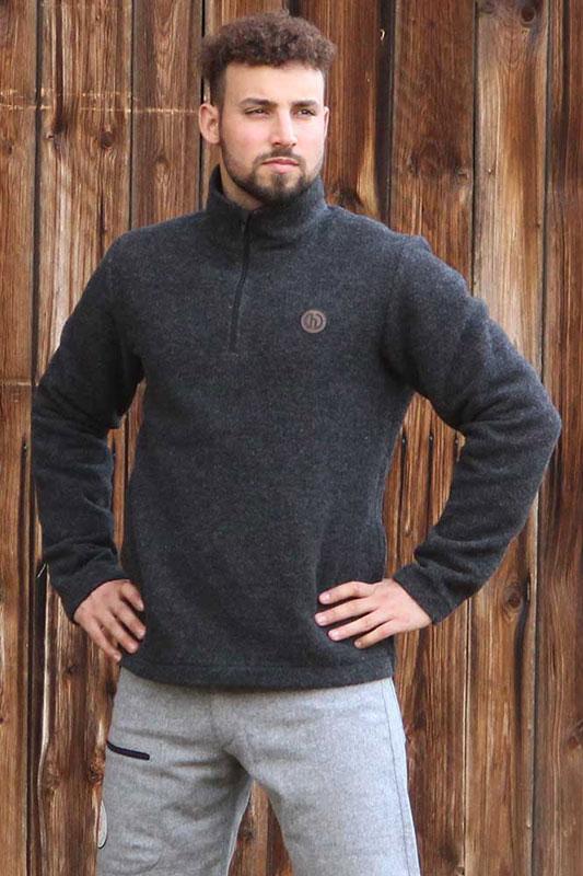 Turtleneck Zip Troyer  - Wollpullover aus Flauschloden
